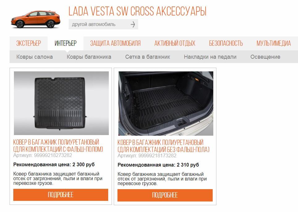 Покупка ковриков в багажник Лада Веста СВ Кросс в автосалоне