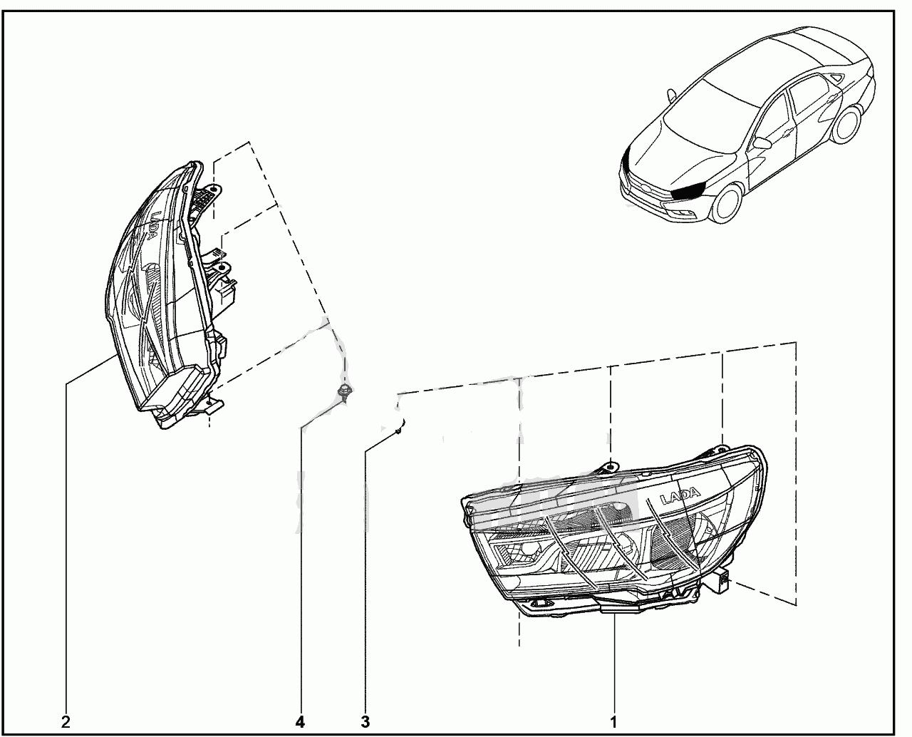 802010. Фары передние Lada Vesta